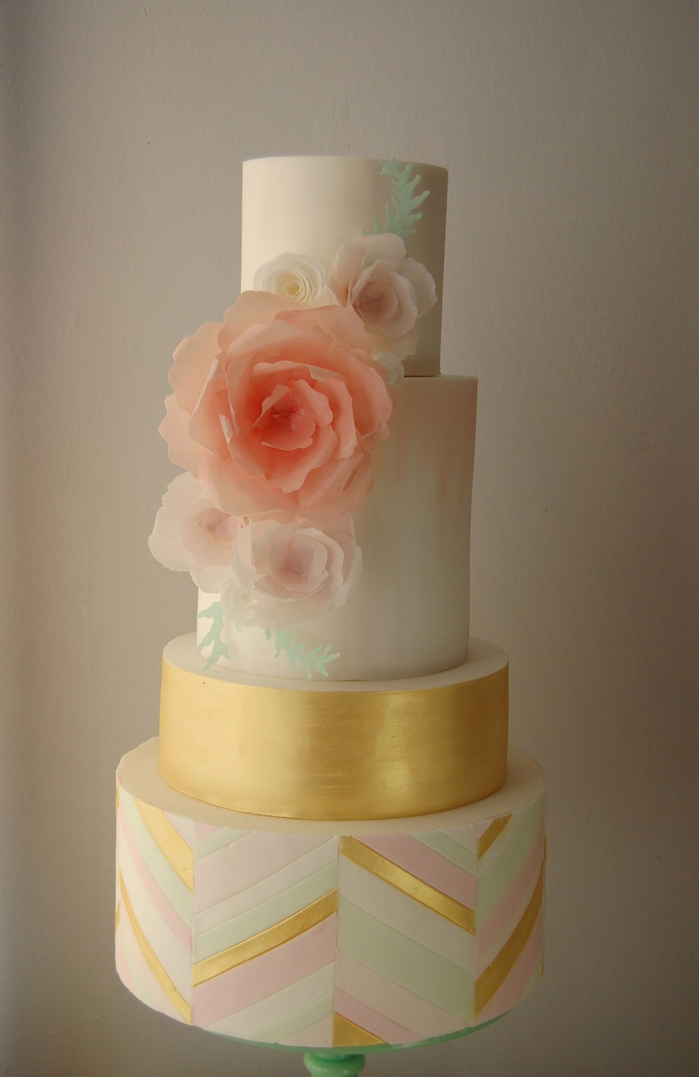 Pastel Chevron and Gold Wedding cake with Wafer Paper Flowers www.s-k-cakes.co.uk