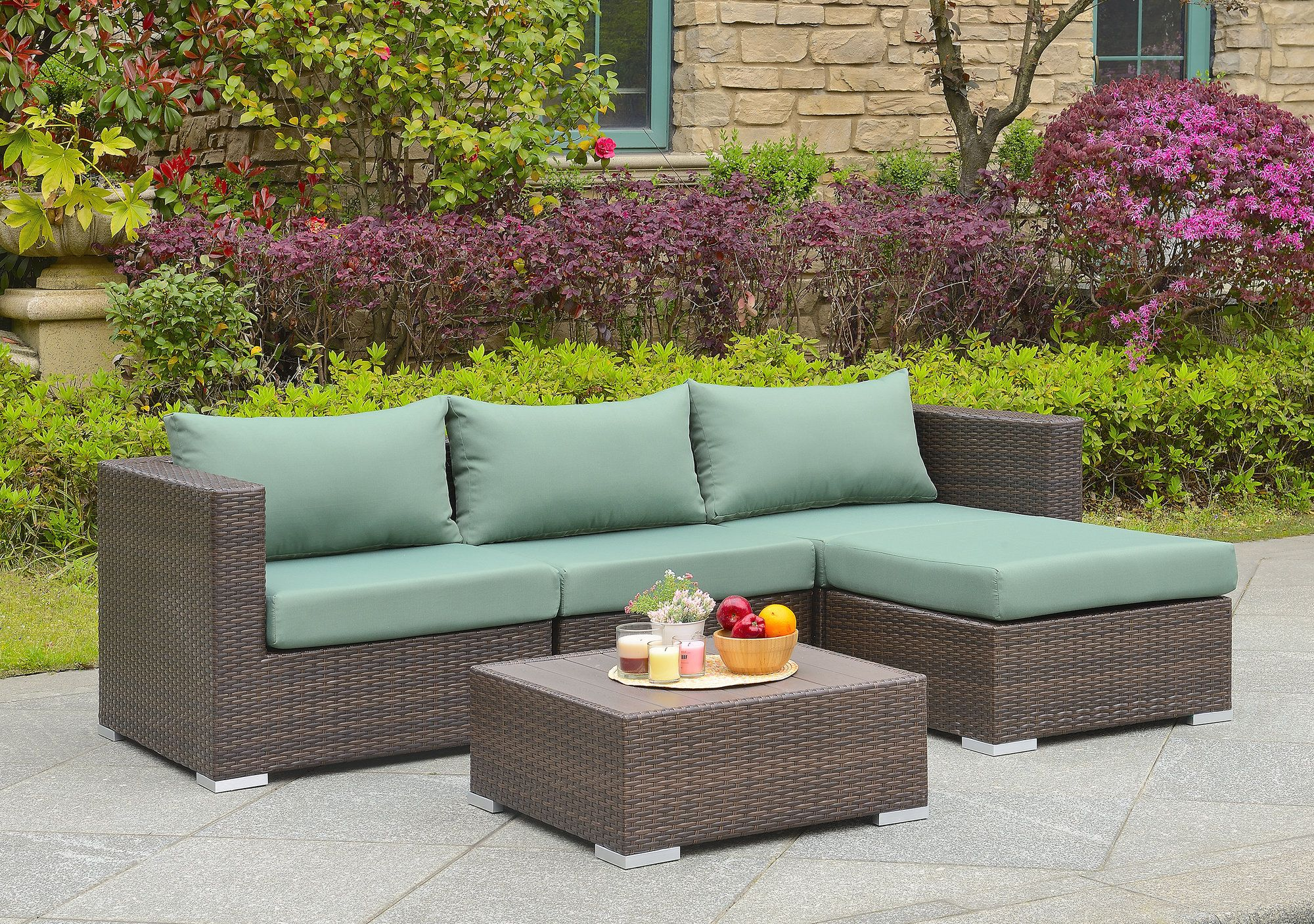 Bonaventure 5 Piece Deep Seating Group With Cushion Sectional Patio Furniture