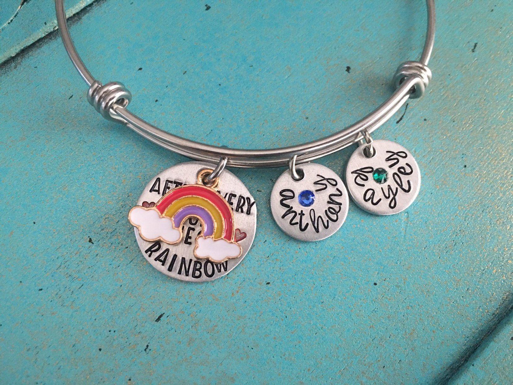 Personalized rainbow baby mom birthstone bangle bracelet