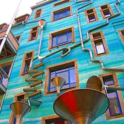 it's awall in the city of Dresden, Germany ..  This wall is well-known that plays music when it rains