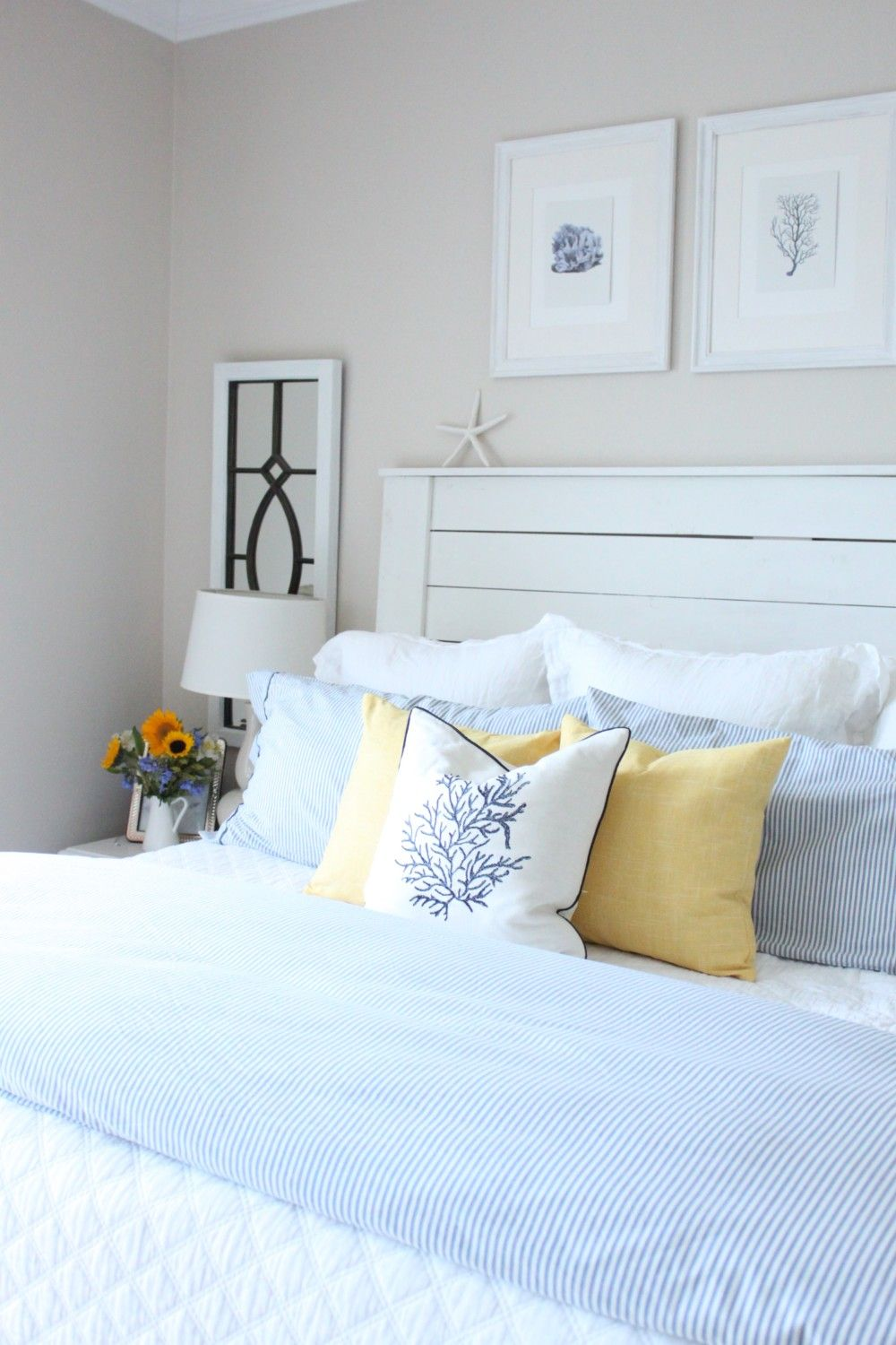 June 2017 Blue, White and Yellow in the Bedroom (With