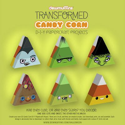 Dewmuffins Transformed Candy Corn Papercraft | Papercraft Paradise | PaperCrafts | Paper Models | Card Models