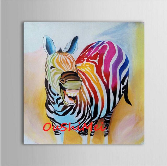 hand-bemalt-abstrakte-tierbilder-leinwandbilder-Ölgemälde-lustig, Hause deko