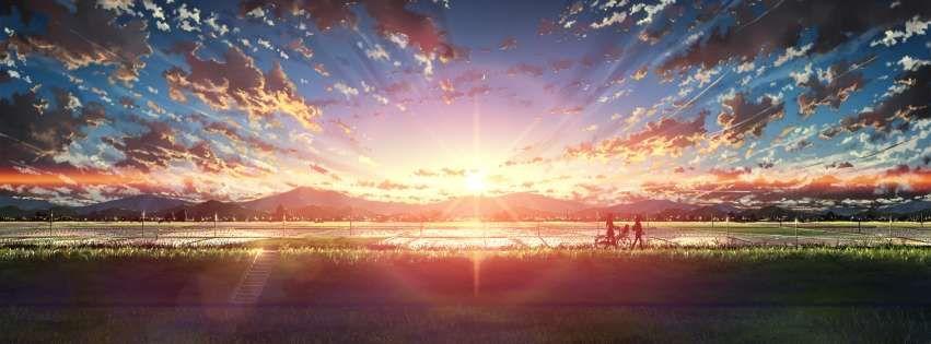 Anime Original Sunset Walk Facebook Cover Anime Cover Photo Facebook Cover Photos Twitter Cover Photo
