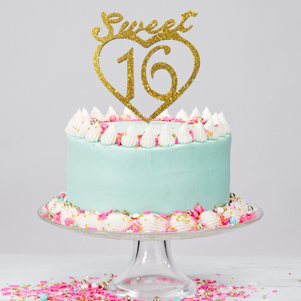 Jennygems Gold Sweet 16th Birthday Cake Topper