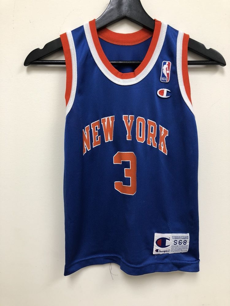 8a15cd99bde Vintage Champion NBA New York Knicks John Starks Kids Jersey Blue Size  Small | eBay