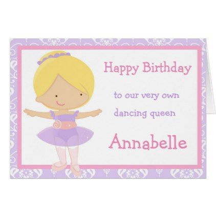 Cute Blonde Ballerina Birthday Card Ballerina Birthday