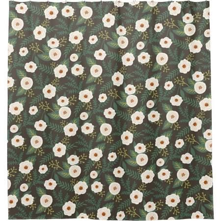 Caramel And Navy Floral Shower Curtain