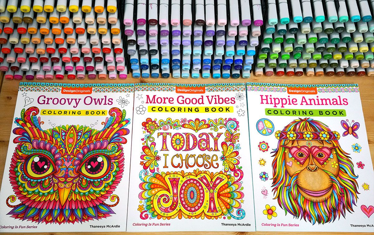 New Coloring Books By Thaneeya McArdle Groovy Owls More Good Vibes Hippie Animals