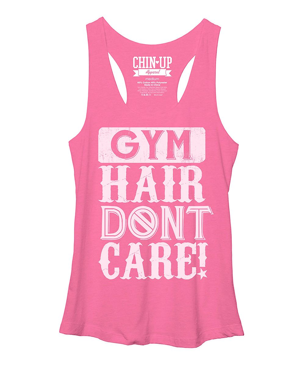 7ce6826f Heather Pink 'Gym Hair Don't Care' Racerback Tank | A's love - Gym ...