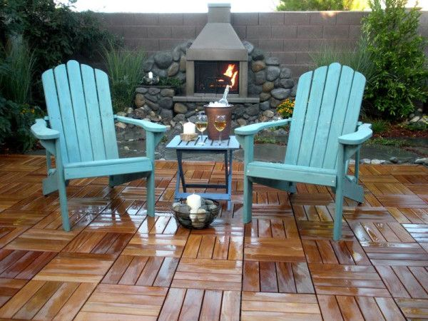 Amazing Paving Extraordinary Tile Over Patio Concrete With Outdoor Furniture Wooden  Chairs In Vintage Blue Paint Colors And Hammered Copper Wine Bucket Also  Simple ...