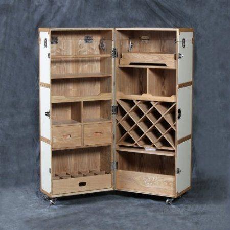 Vintage Steamer Trunk Style Folding Drinks Cabinet L8 Amazon Co