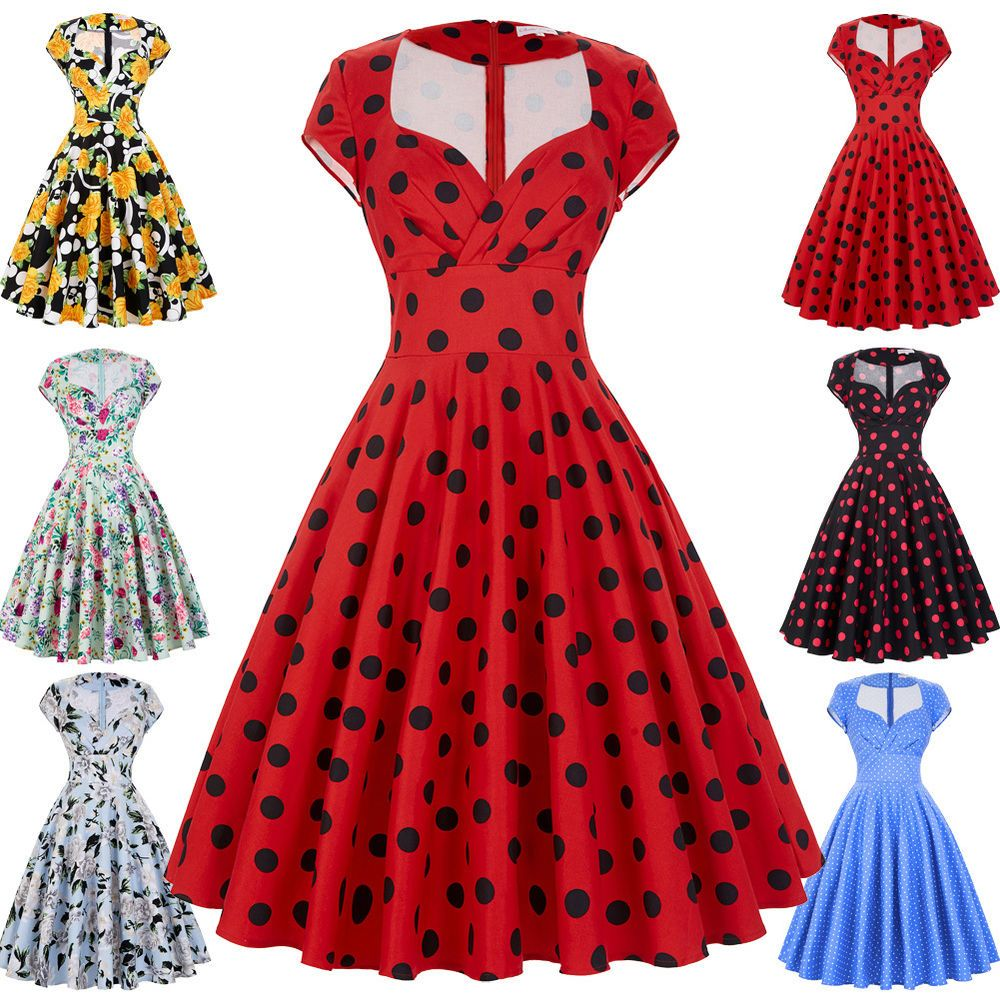 Womens Vintage 50s Retro Pinup Swing Evening Cocktail Party ...