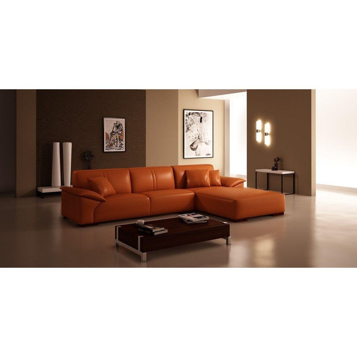 Divani Casa 5043 Modern Orange Bonded Leather Sectional Sofa ...