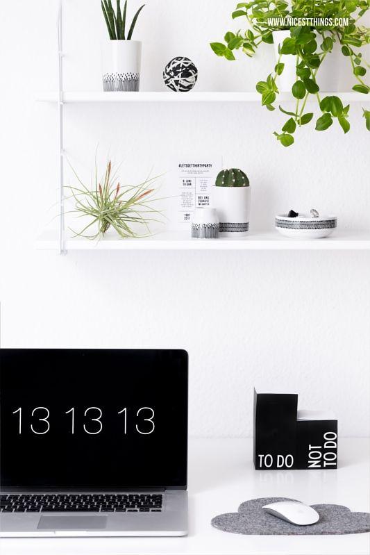 Urban Jungle Deko im Home Office Pflanzen Deko am Schreibtisch