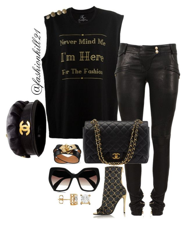 """""""Never mind"""" by fashionkill21 ❤ liked on Polyvore featuring Balmain, Chanel, Prada, women's clothing, women, female, woman, misses and juniors"""
