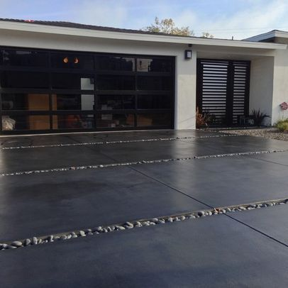 Image Result For Stained Black Concrete Driveway Modern Driveway