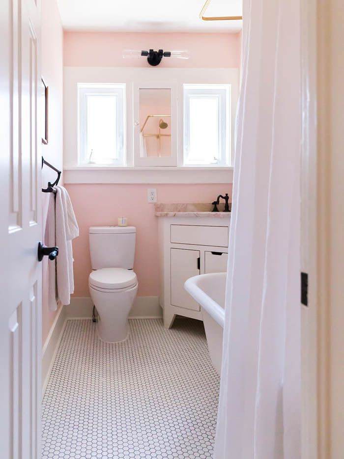 Here S How To Decorate A Small Bathroom Pink Bathroom Decor Pink Bathroom Shabby Chic Bathroom