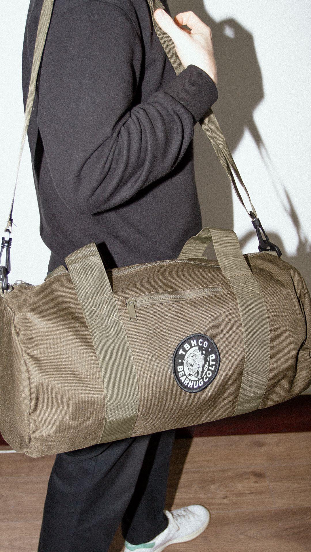 d4bdeeec6c6 The Bearhug - Olive Green  Barrel Bag   streetwear  barrelbag  bearhug