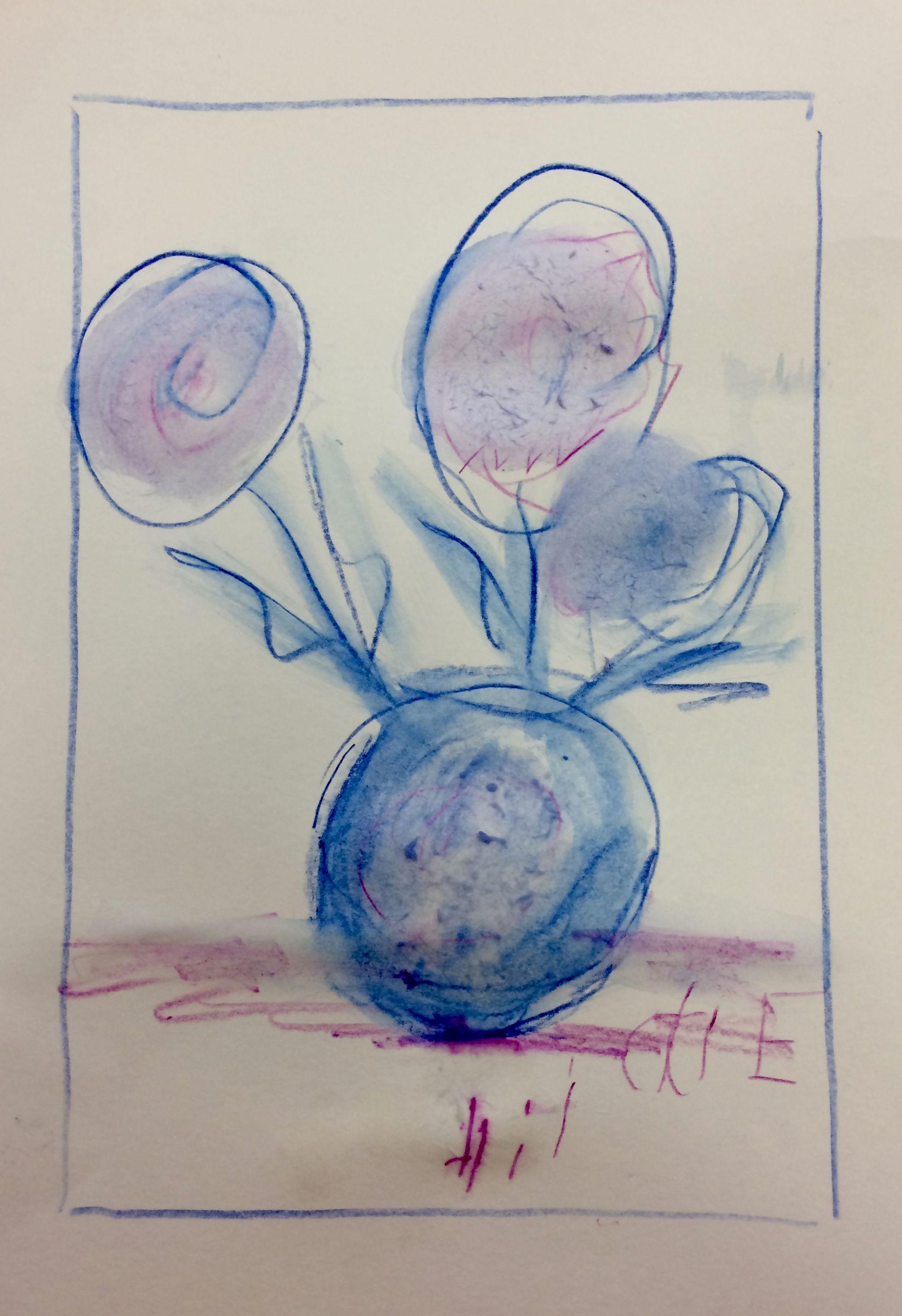 Hilde Blumen Mit Vase Aquarellstifte Teilnehmer Der