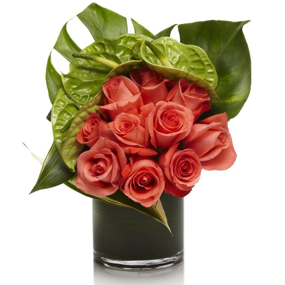 Flower Roses Pinterest: Orange Roses, Green Anthurium And Monstera Leaf.