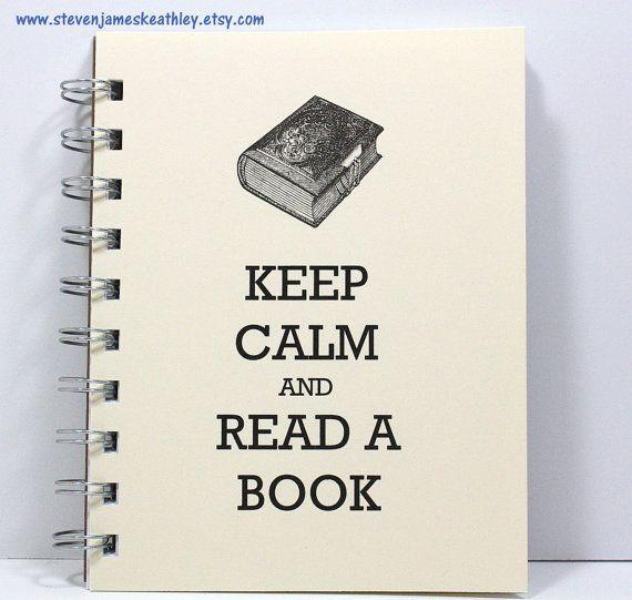 Keep Calm Journal Diary Spiral Notebook Sketch Book - Keep Calm and Read a Book - Ivory