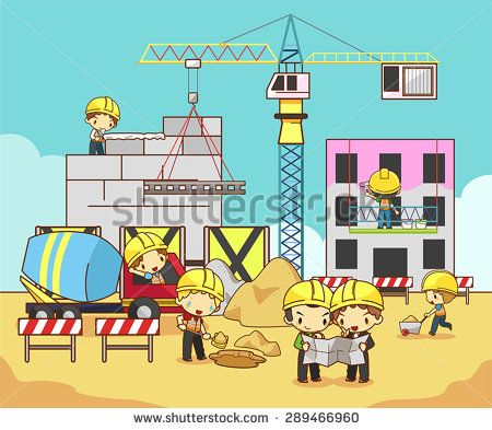 Cartoon Children Civil Engineer Technician And Labor Worker Working On A Construction Site Building Vector Engineer Cartoon Engineering Crafts Logo Wall