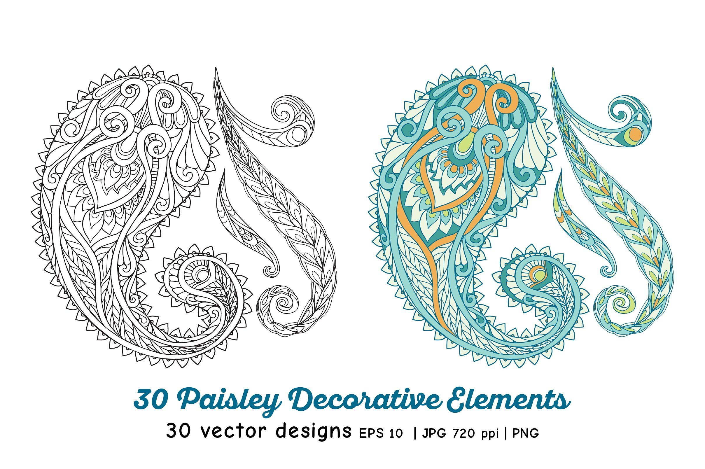 30 Paisley and Mandala Elements - Illustrations - 5 | Moodboards and ...