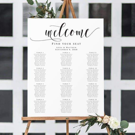 Wedding Seating Chart Template Welcome Seating Chart Rustic Wedding - Wedding invitation templates: seating chart template wedding