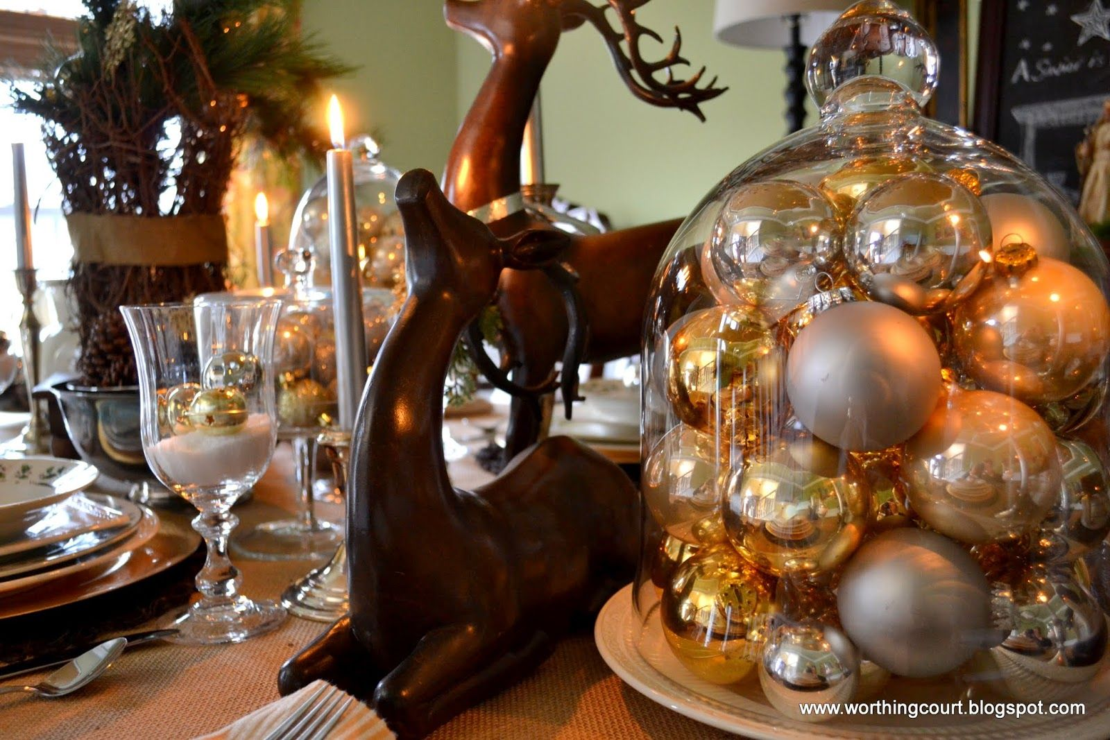 Rustic And Refined Christmas Dining Room Gold DecorationsChristmas Table CenterpiecesChristmas
