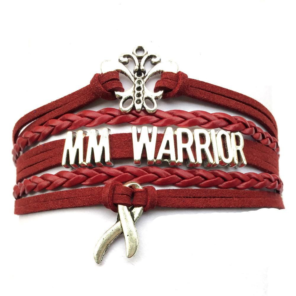 Multiple Myeloma Erfly Cancer Awareness Sign Ribbon Charms Leather Bracelet