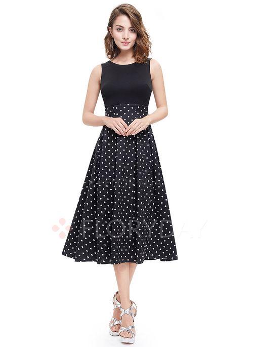 Kjoler - $39.99 - Polyester Polkaprikket Ærmeløse Midi Elegant Kjoler (1955100996)