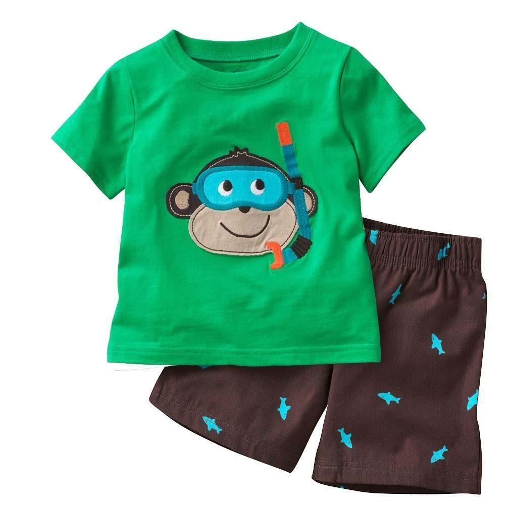 7db259addf Hooyi Diving Monkey Baby Boy Pajamas Clothes Sets 100% Cotton Cartoon Kids  Home Wear 2 3 4 5 6 7 Year Children Tee Shirts Shorts.