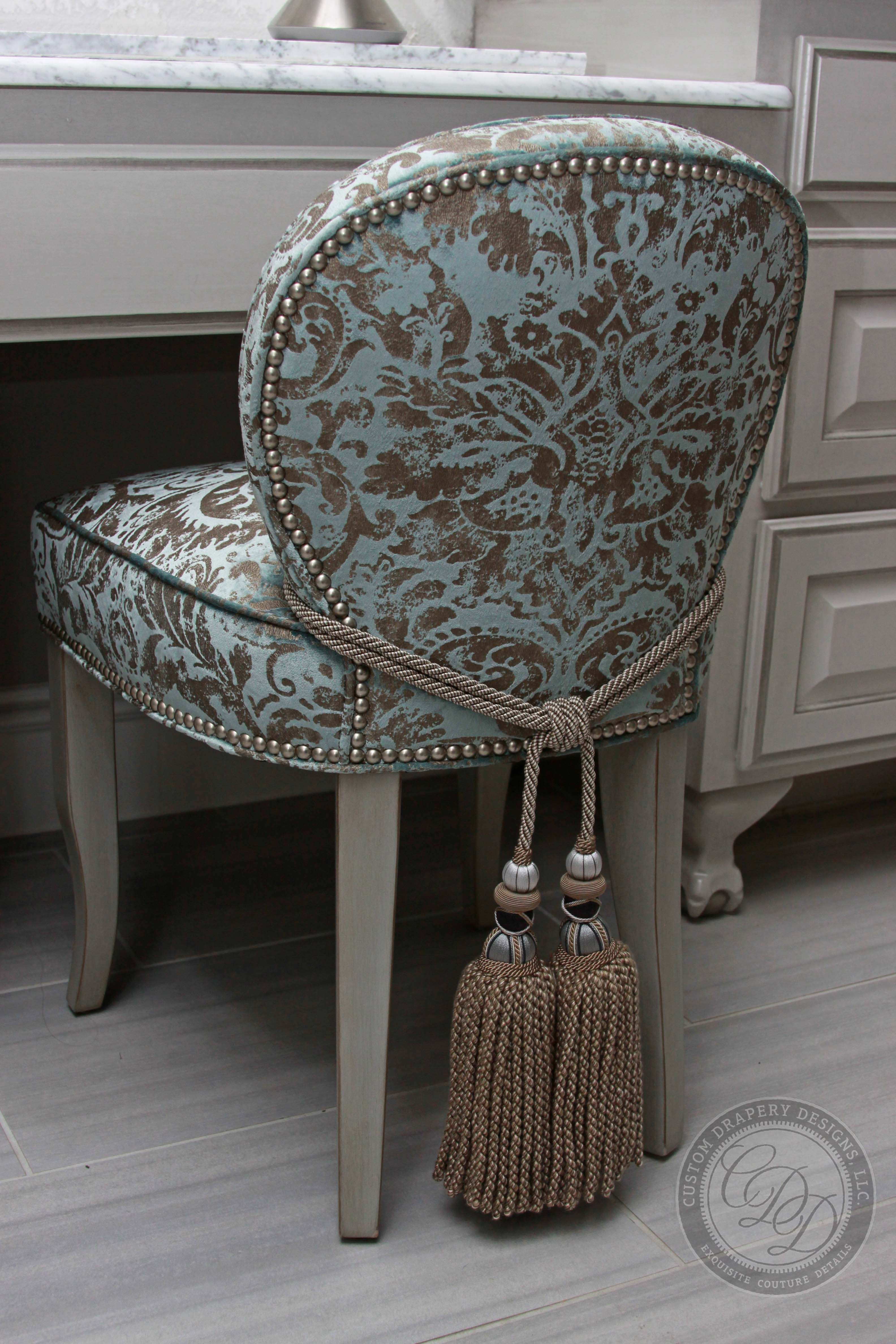 Custom Drapery Designs LLC- Master bathroom vanity chair upholstered in a velvet Damask fabric & Custom Drapery Designs LLC- Master bathroom vanity chair ...
