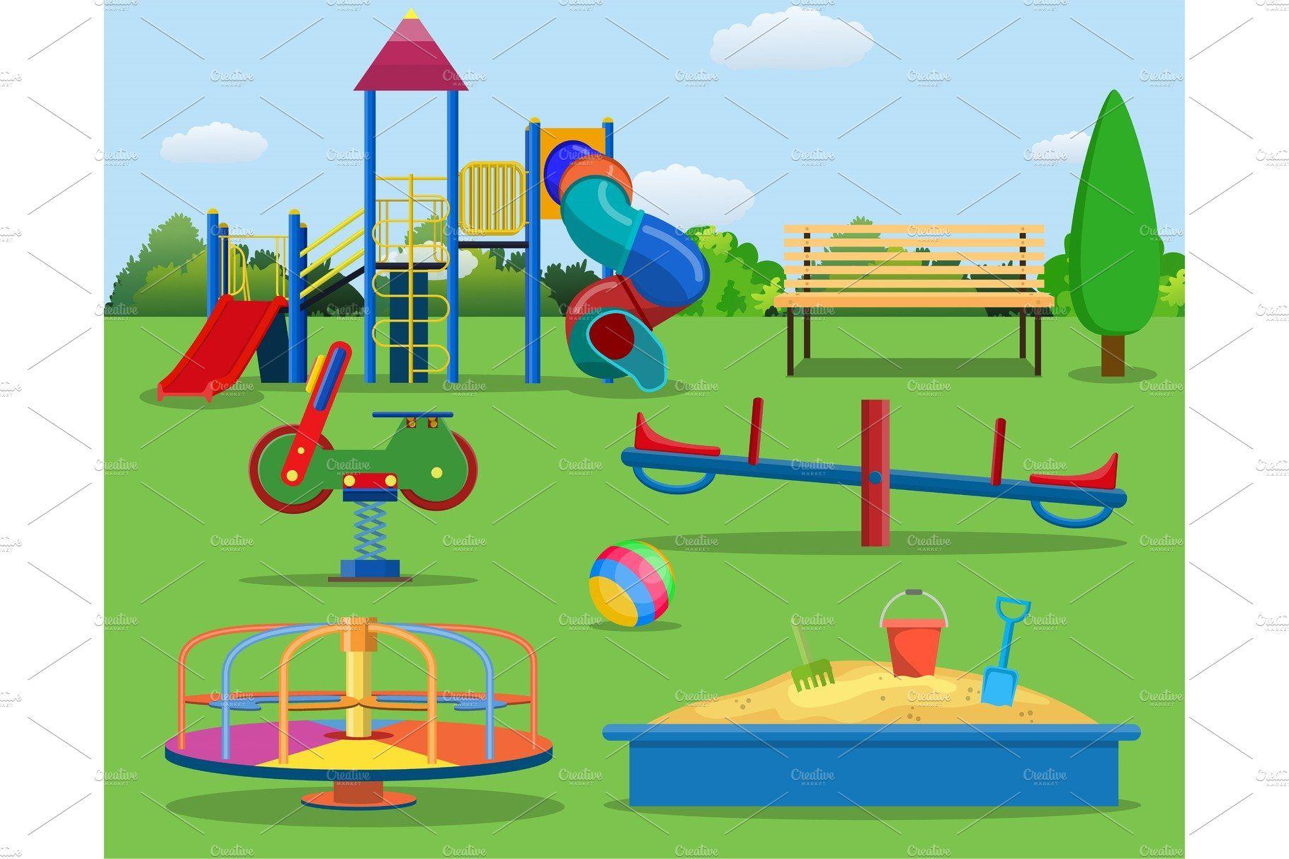 Kids Playground Cartoon Concept Background Kids Playground Children Park Playground