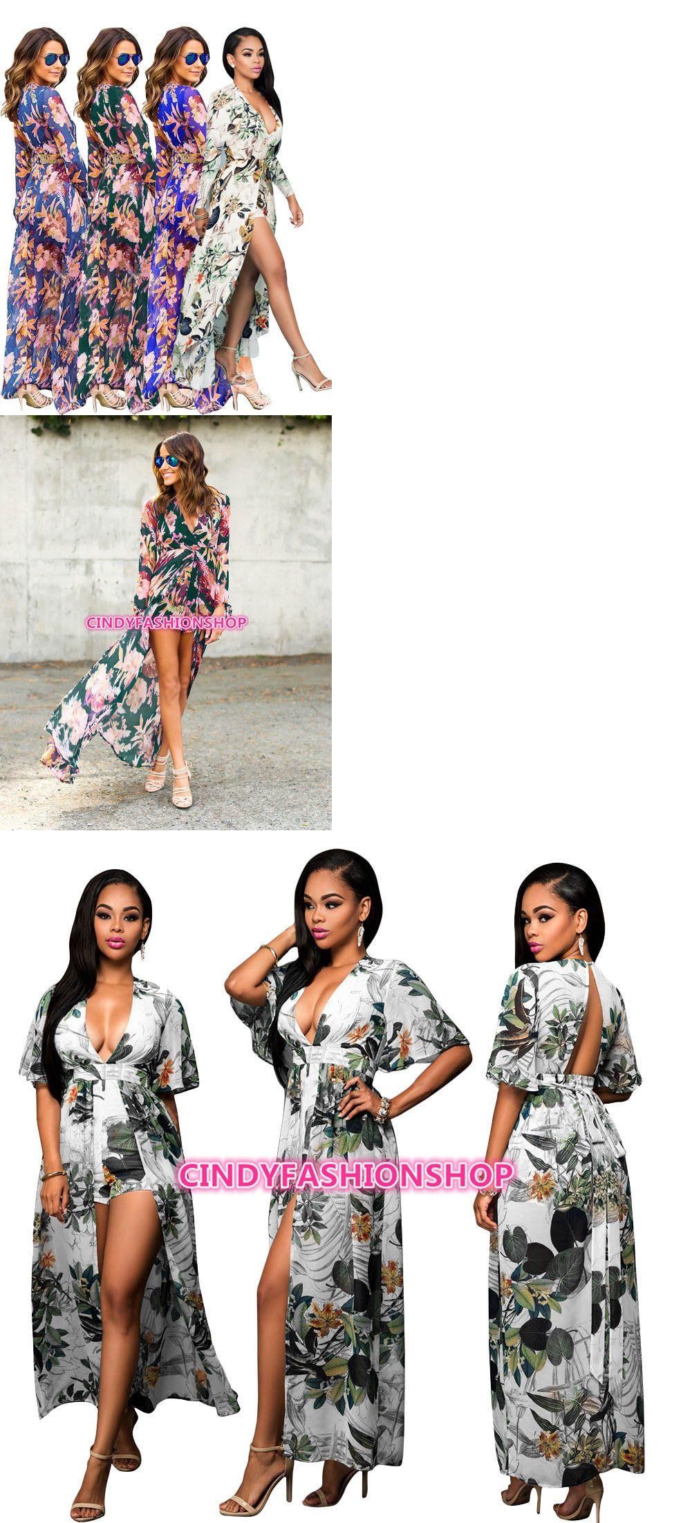 46dac6d3a96 Dresses 175784  Usa Women Long Sleeve Maxi Summer Floral Short Romper Dress  Bo Ho Split Chiffon -  BUY IT NOW ONLY   25.88 on  eBay  dresses  women   sleeve ...