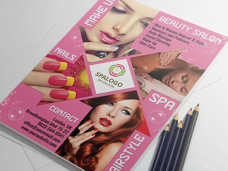 Hair And Beauty Salon Flyer Template Landisher Graphic Design - Hair salon brochure templates