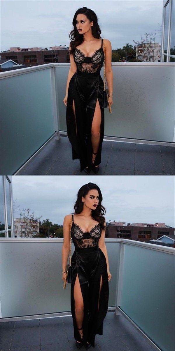 Black Slit Prom Dresses 2018