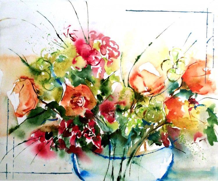 Les 5 Roses 01 Veronique Piaser Moyen Aquarelle Florale