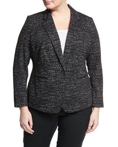 Knit Jacquard One-Button Blazer, Black, Plus Size