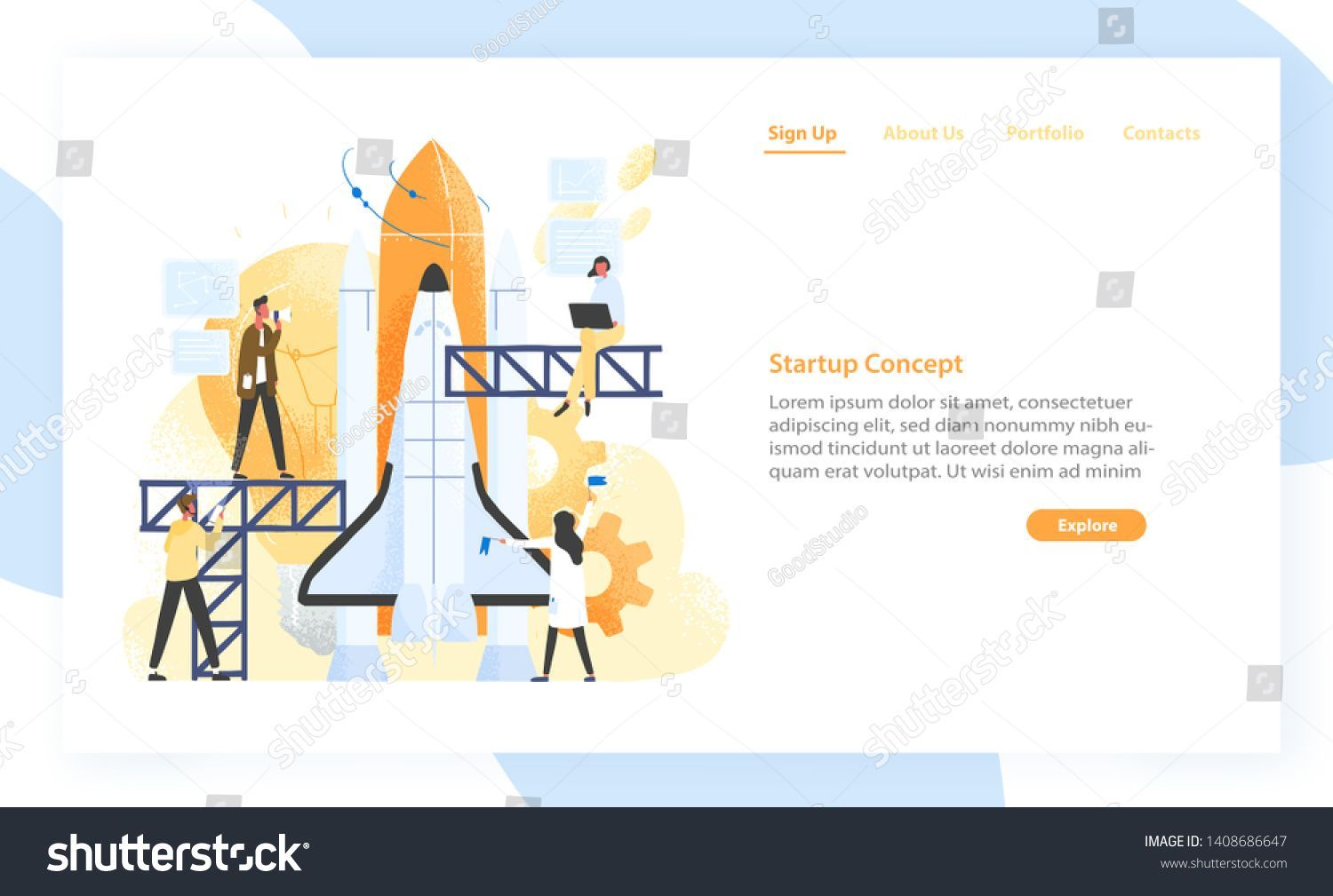 Group of people preparing spaceship rocket spacecraft or shuttle for space jou  Group of people preparing spaceship rocket spacecraft or shuttle for space journey Startup...