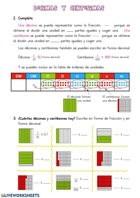 Fracciones Decimales Ficha Interactiva Fracciones Decimales Fracciones Decimal