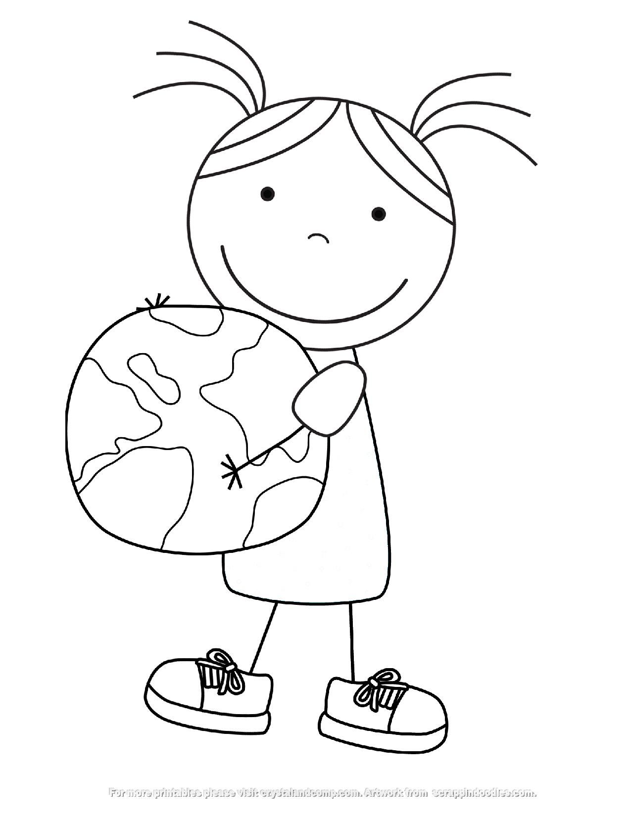 Kid Color Pages Earth Day For Girls Con Imagenes