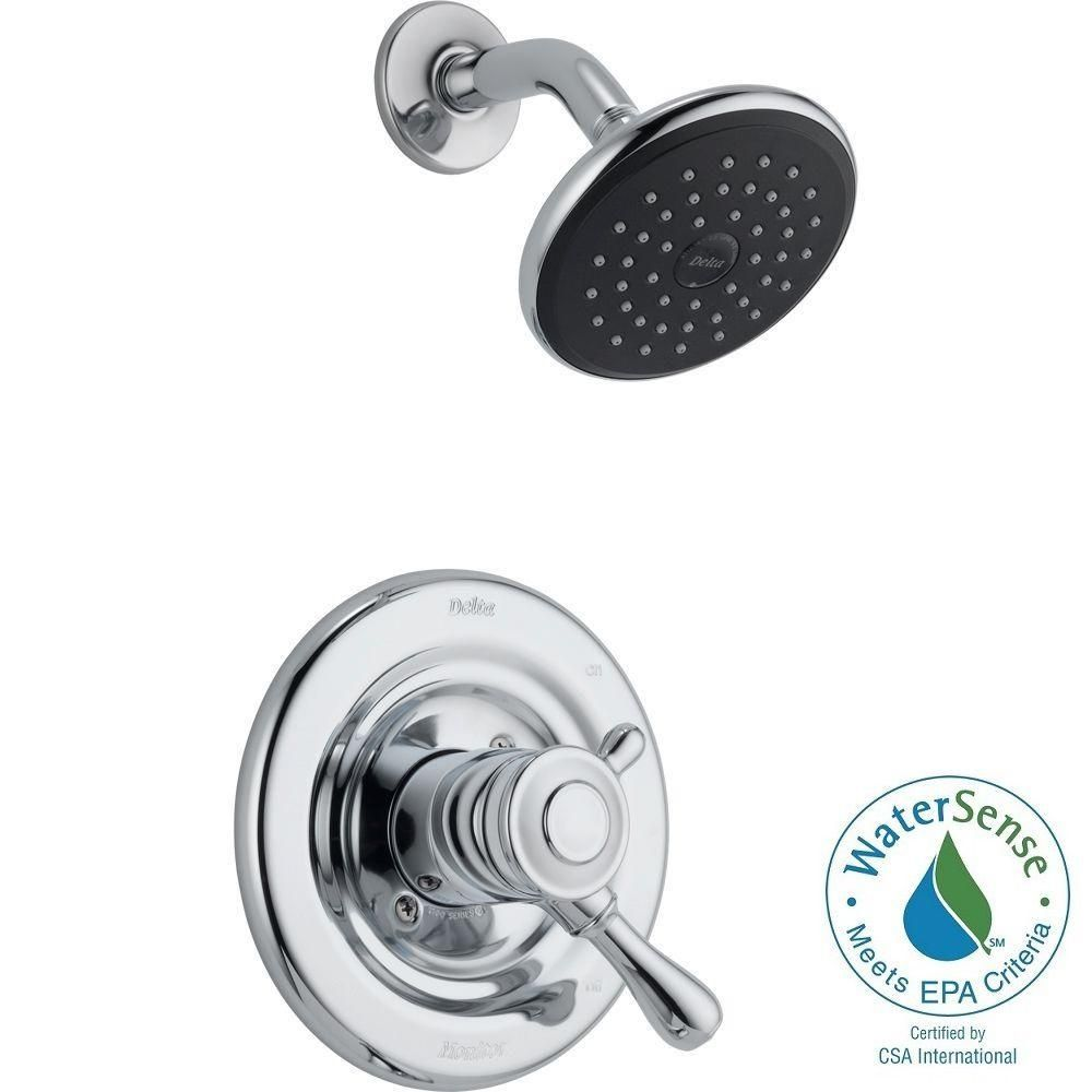 delta leland 1 handle shower only faucet trim kit in chrome grey