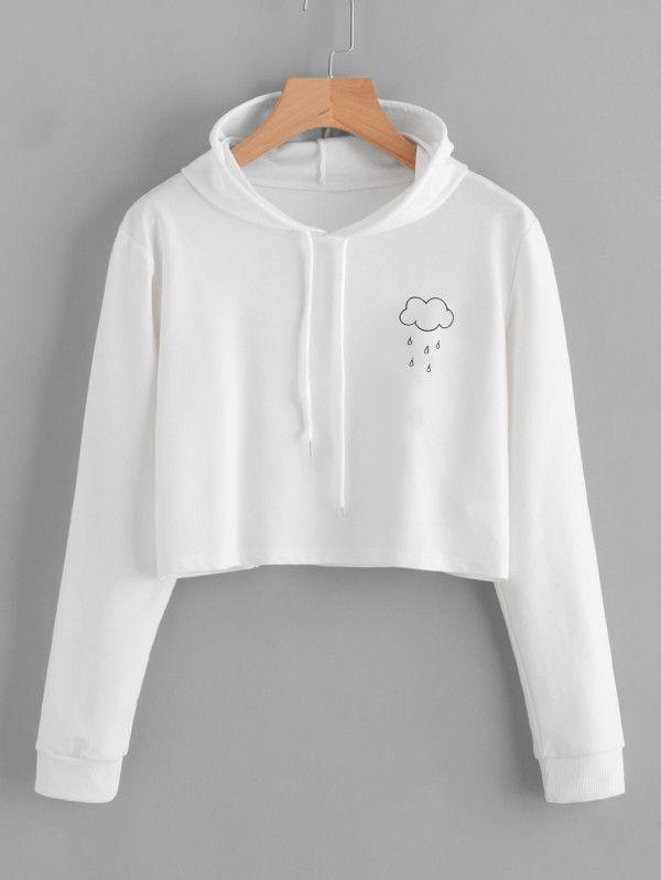 3b5ca3a6c3d Rain Print Crop Hooded Sweatshirt -SheIn(Sheinside)