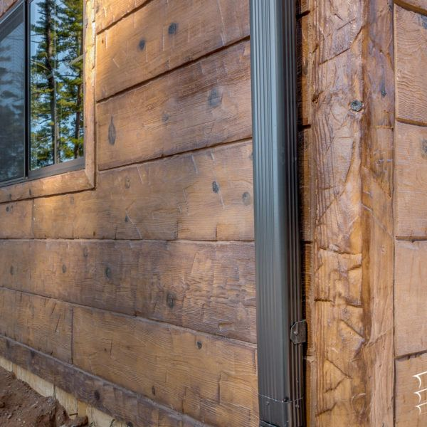 Hand Hewn Siding Lake Home Nextgen Logs Concrete Log Siding Concrete Siding Rustic Houses Exterior Log Cabin Vinyl Siding