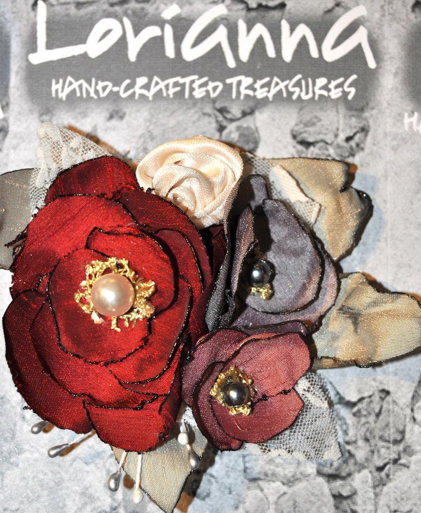 deep red burgundy grey cream gold rose flower dress hat pin brooch wedding bride