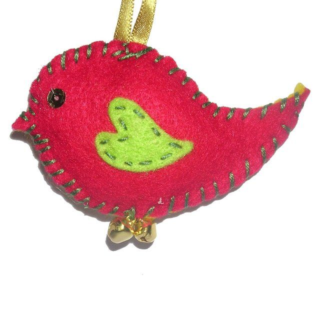 Little felt bird - Christmas Decorations - jingle bells fabric