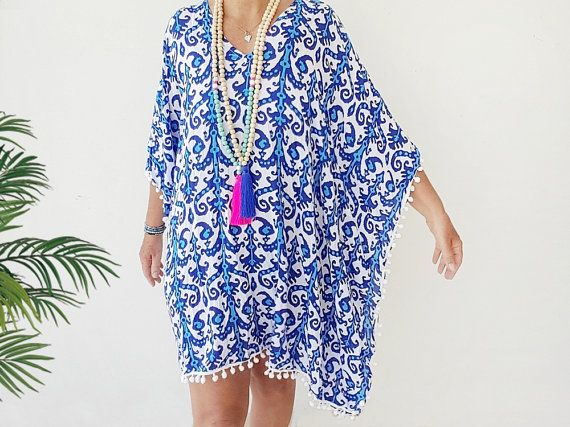 de3de079bd Pretty and soft Blue Caftan dress - Short beach kaftan dress / cover up  with a pretty tribal print in Royal blue and turquoise with pom pom trim.