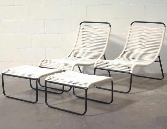 retro outdoor walter lamb style lounge chair and ottoman new made tubular metal with rope seating - Lounge Chair Outdoor